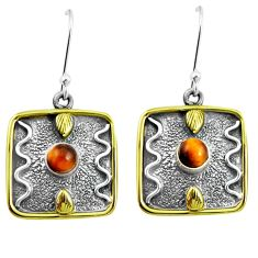 1.72cts victorian natural brown tiger's eye 925 silver two tone earrings m89494