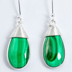 20.36cts natural green malachite (pilot's stone) 925 silver earrings m90576