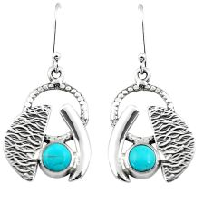 925 sterling silver 2.51cts blue arizona mohave turquoise dangle earrings m91565