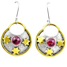 3.08cts natural red garnet 925 sterling silver two tone dangle earrings m92269