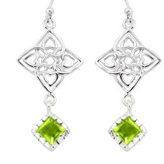 925 sterling silver 3.82cts natural green peridot dangle earrings jewelry m93475