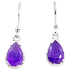 925 sterling silver 4.71cts natural purple amethyst dangle earrings m93873