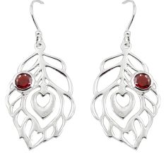 2.03cts natural red garnet 925 sterling silver feather earrings jewelry m93946