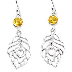 1.82cts natural yellow citrine 925 sterling silver feather earrings m93971