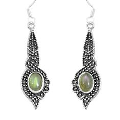 3.53cts natural blue labradorite 925 sterling silver dangle earrings m94766