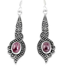 3.39cts natural red garnet 925 sterling silver dangle earrings jewelry m94769