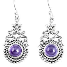 4.82cts natural purple amethyst 925 sterling silver dangle earrings m94809