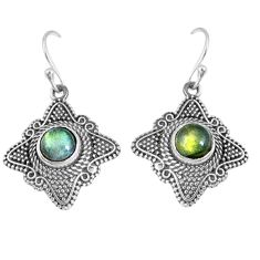 2.62cts natural blue labradorite 925 sterling silver dangle earrings m94919