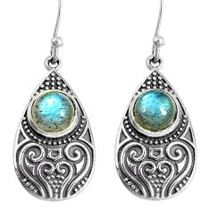 4.71cts natural blue labradorite 925 sterling silver dangle earrings m94957
