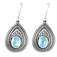 4.57cts natural rainbow moonstone 925 sterling silver dangle earrings m95060
