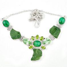 Natural green moldavite (genuine czech) malachite 925 silver necklace m26511