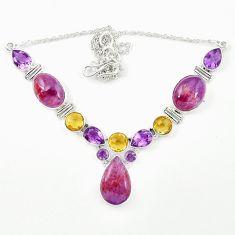 Natural purple cacoxenite super seven (melody stone) 925 silver necklace m26516
