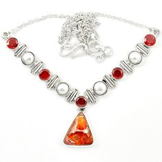 Natural multi color mexican fire agate garnet pearl 925 silver necklace m26519