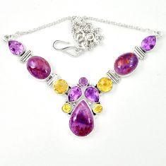 925 silver natural purple cacoxenite super seven (melody stone) necklace m26520