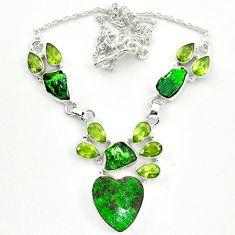 Natural green uvarovite garnet peridot 925 silver necklace jewelry m4422