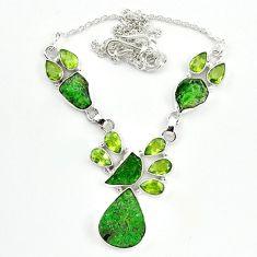 Natural green uvarovite garnet peridot 925 sterling silver necklace m4423