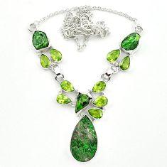 925 silver natural green uvarovite garnet peridot necklace jewelry m4424