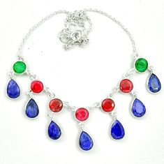 Natural blue sapphire emerald ruby 925 sterling silver necklace m46863