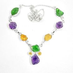 Green chrome diopside rough citrine rough 925 silver necklace m47835
