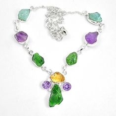 Green chrome diopside rough citrine rough 925 silver necklace m47836