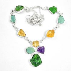 Green chrome diopside rough citrine rough 925 silver necklace m47838