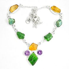 Green chrome diopside rough citrine rough 925 silver necklace m47840