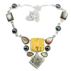 Natural multi color germany psilomelane dendrite 925 silver necklace m49101