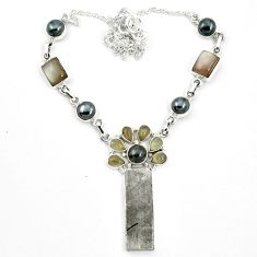 Natural grey meteorite gibeon hematite 925 silver necklace jewelry m49175