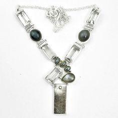 Natural grey meteorite gibeon hematite 925 silver necklace m49176