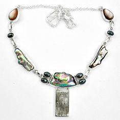 Natural grey meteorite gibeon hematite 925 silver necklace m49177