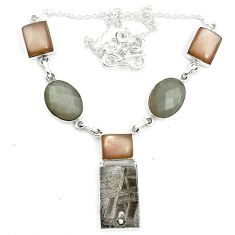 925 sterling silver natural grey meteorite gibeon moonstone necklace m49178