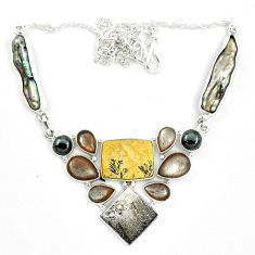 Natural multi color germany psilomelane dendrite 925 silver necklace m49179