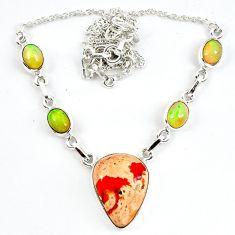 Natural orange mexican fire opal ethiopian opal 925 silver necklace m5048