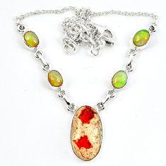 925 silver natural orange mexican fire opal ethiopian opal necklace m5052