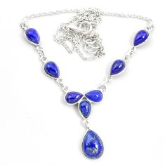 Natural blue lapis lazuli 925 sterling silver necklace jewelry m57321