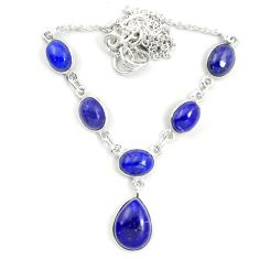 Natural blue lapis lazuli 925 sterling silver necklace jewelry m57372