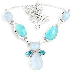 Natural rainbow moonstone larimar 925 sterling silver necklace m61937