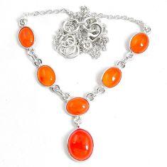 925 silver natural orange cornelian (carnelian) necklace jewelry m78479