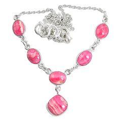 Natural pink rhodochrosite inca rose (argentina) 925 silver necklace m78480