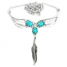 Blue copper turquoise 925 sterling silver feather necklace jewelry m82053