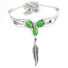 Green copper turquoise 925 sterling silver feather necklace jewelry m82057