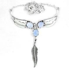 Natural rainbow moonstone 925 sterling silver feather necklace jewelry m82060
