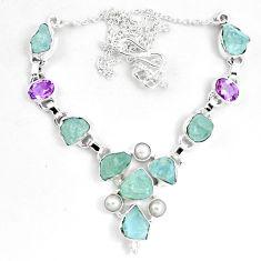 Natural aqua aquamarine rough amethyst 925 silver necklace m82101