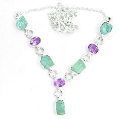 Natural aqua aquamarine rough amethyst 925 silver necklace jewelry m82102