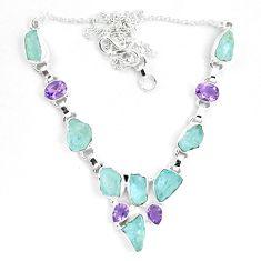Natural aqua aquamarine rough amethyst 925 silver necklace m82103