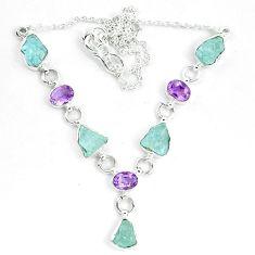 Natural aqua aquamarine rough amethyst 925 silver necklace m82104