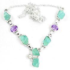 925 silver natural aqua aquamarine rough fancy amethyst necklace m82105