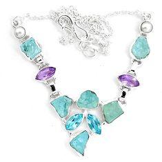 Natural aqua aquamarine rough purple amethyst 925 silver necklace m82106