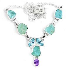 Natural aqua aquamarine rough amethyst 925 silver necklace jewelry m82107