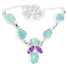 925 silver natural aqua aquamarine rough amethyst necklace jewelry m82108